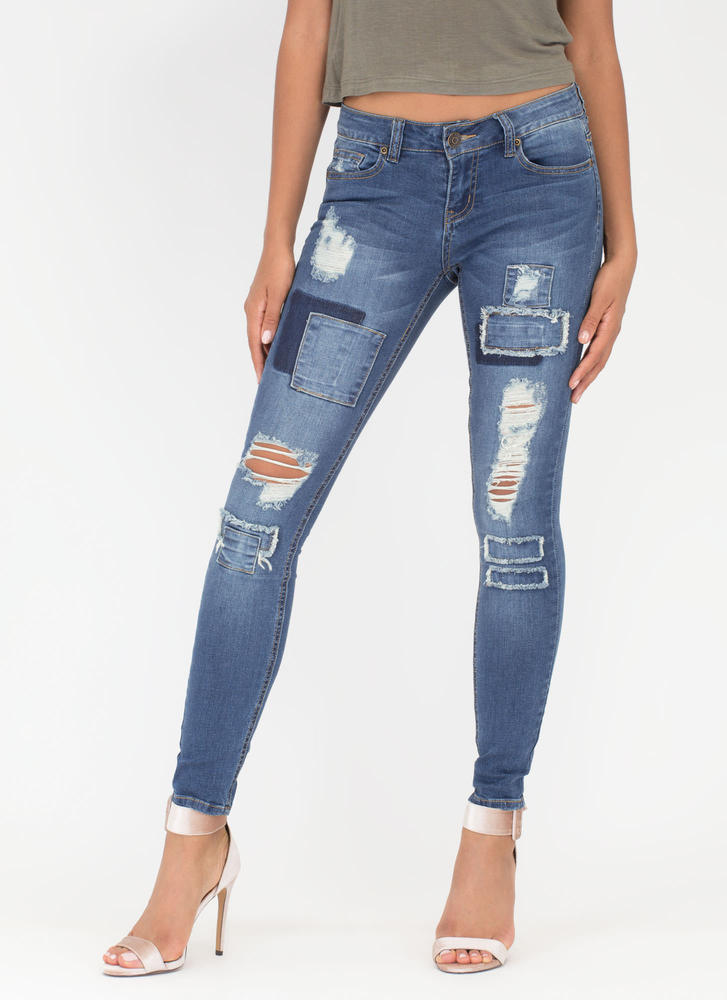Met Your Patch Distressed Skinny Jeans BLUE