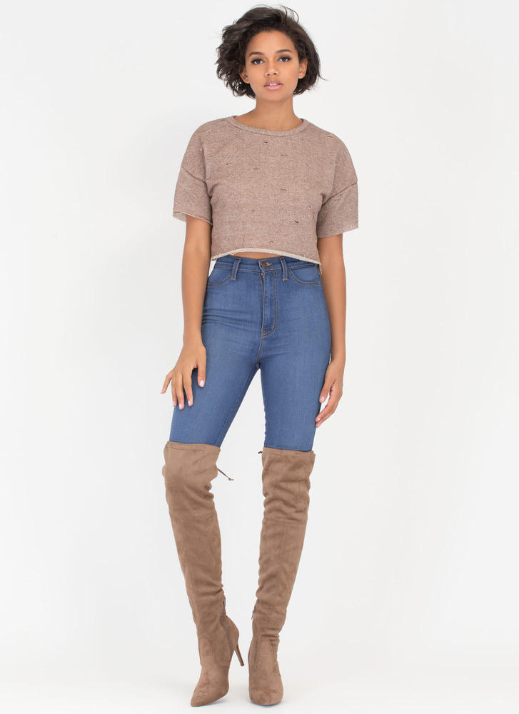 Oh Slit Distressed Terry Crop Top MOCHA