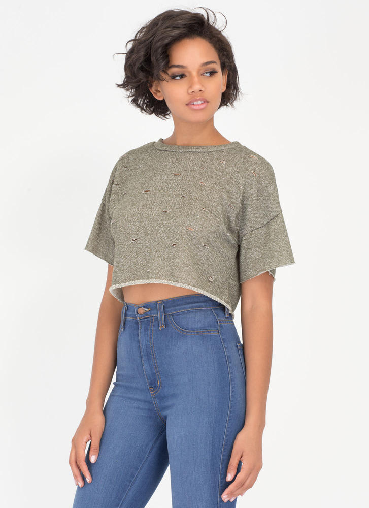 Oh Slit Distressed Terry Crop Top OLIVE