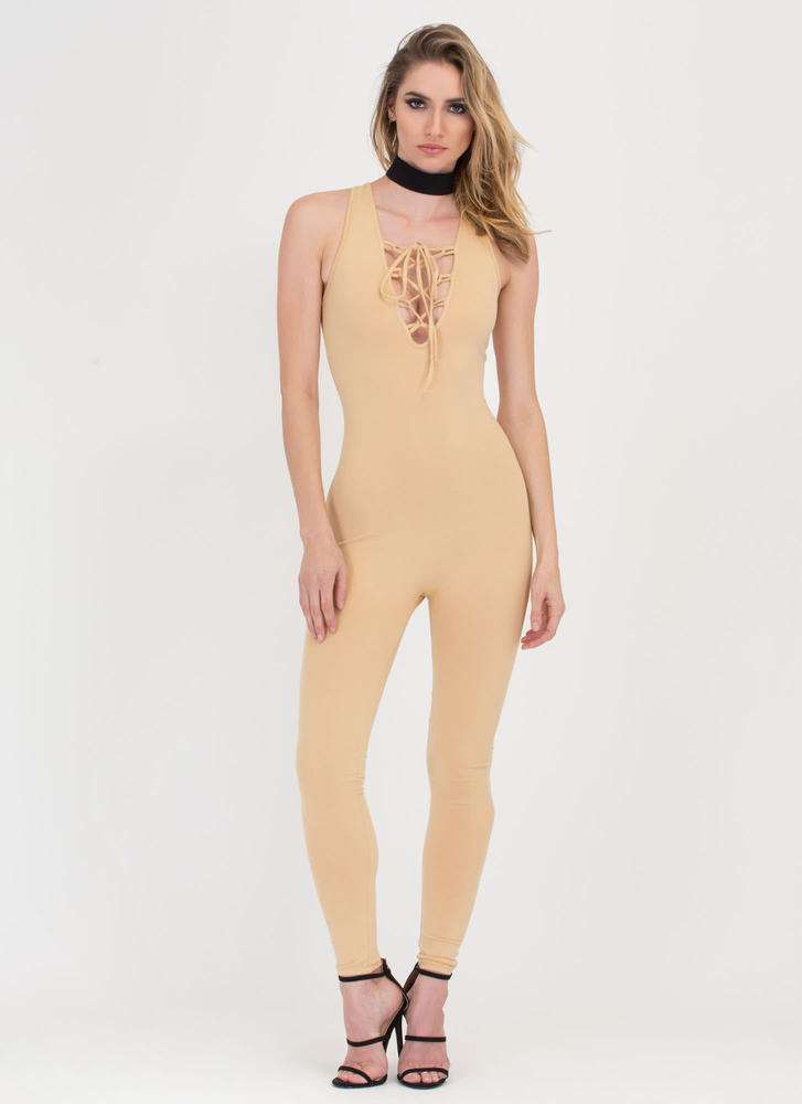 Tied Finish Plunging Full Bodysuit KHAKI