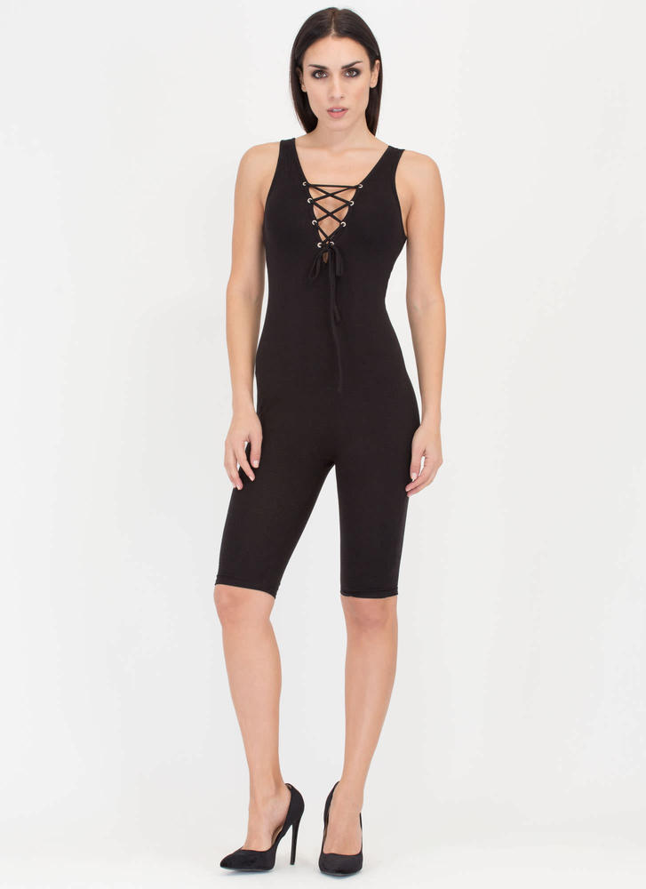 Tie See U Cropped Lace-Up Full Bodysuit BLACK
