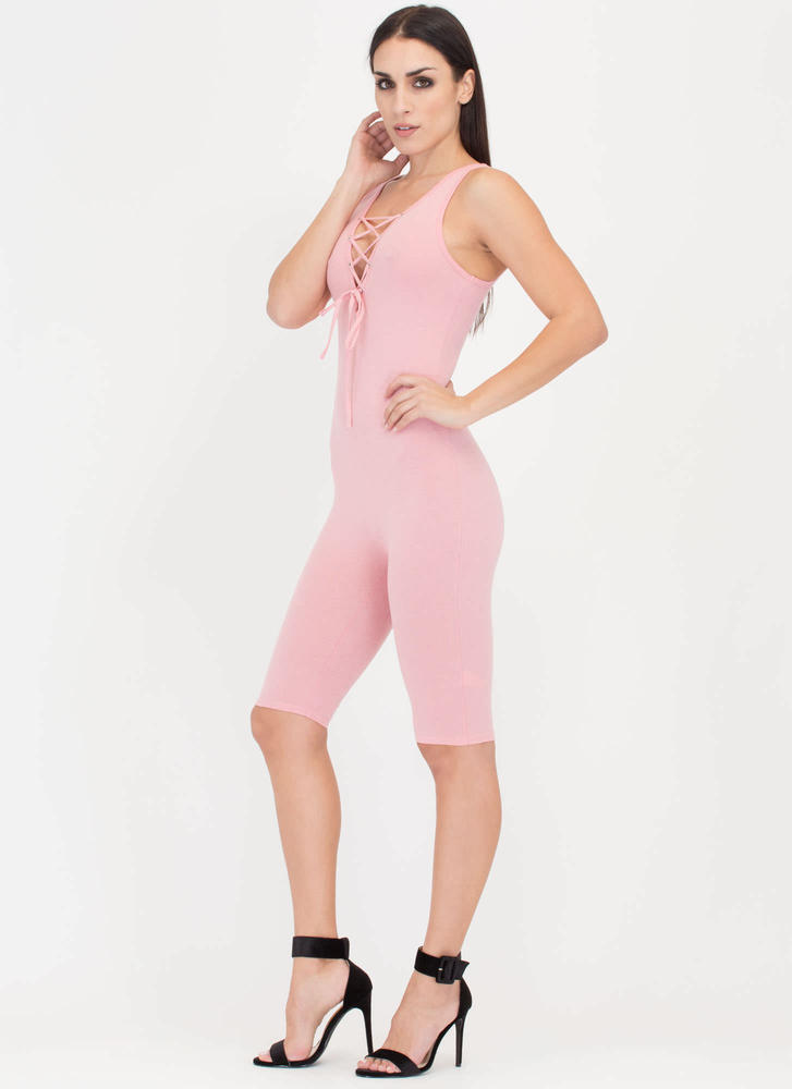 Tie See U Cropped Lace-Up Full Bodysuit BLUSH