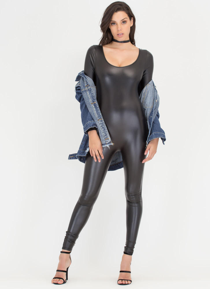 One More Time Shiny Long-Sleeve Jumpsuit