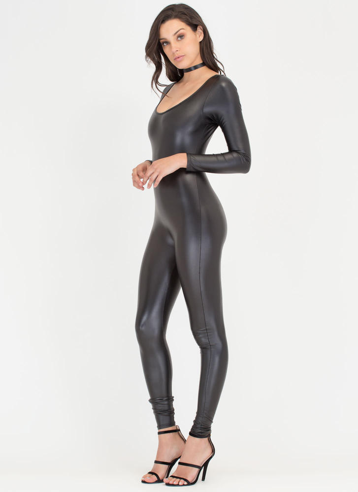 One More Time Shiny Long-Sleeve Jumpsuit BLACK