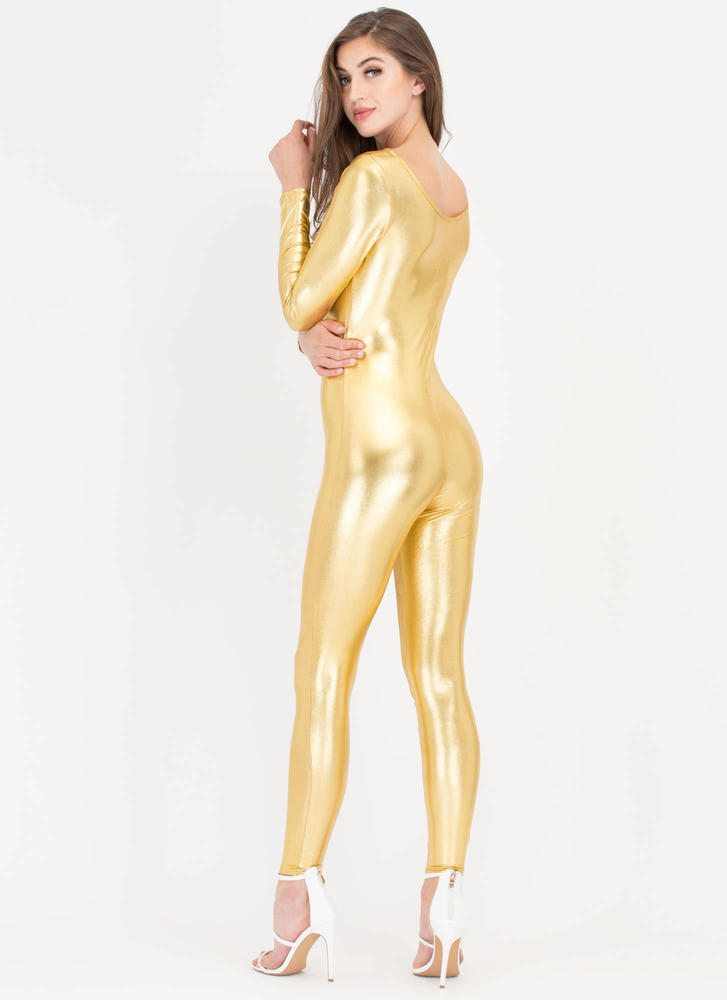 One More Time Shiny Long-Sleeve Jumpsuit GOLD (Final Sale)
