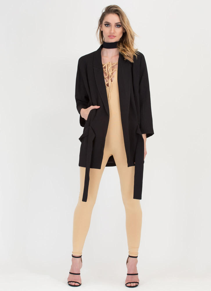 Just Pleat It Belted Oversized Jacket