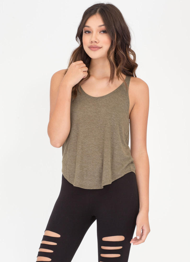 U Got It Rib Knit Tank Top OLIVE