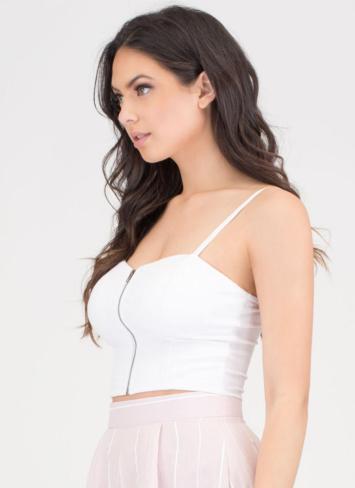 Watch Me Wow Zipped Bustier Top WHITE