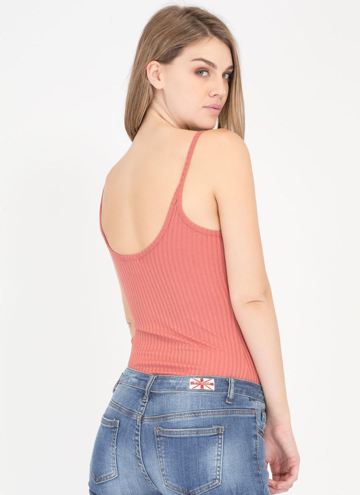 Scoop There It Is Ribbed Cami Bodysuit MARSALA