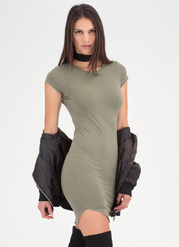 The Final Round Hem Midi Dress OLIVE