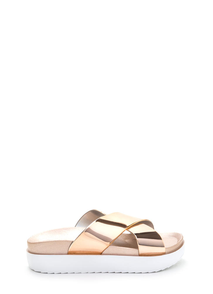 Cross Walk Metallic Platform Slides ROSEGOLD