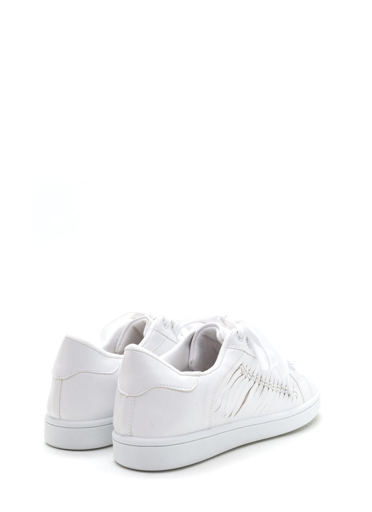 Free 'N Easy Slit Faux Leather Sneakers WHITE