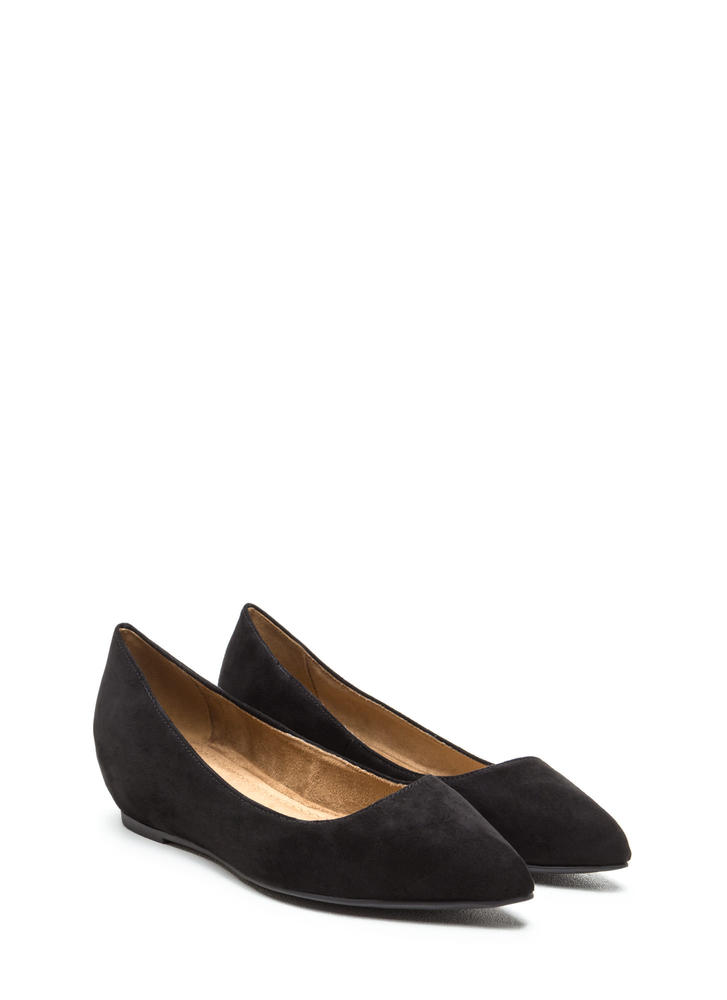 Here's Pointing At You Faux Suede Flats BLACK
