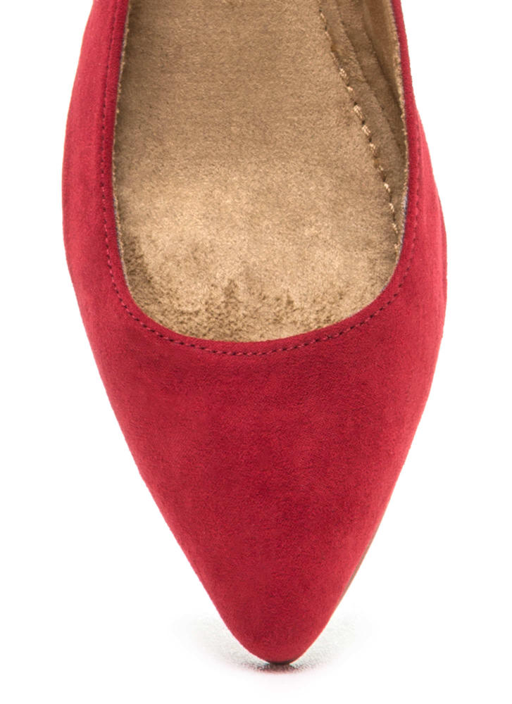 Here's Pointing At You Faux Suede Flats DKRED