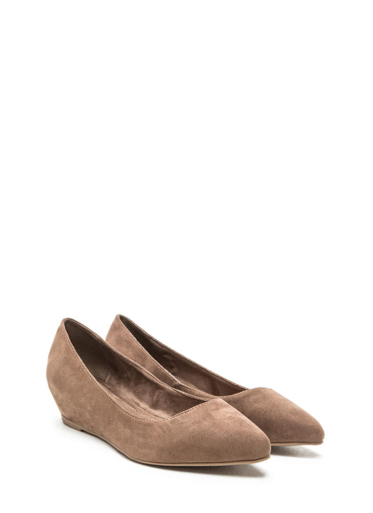 Here's Pointing At You Faux Suede Flats TAUPE