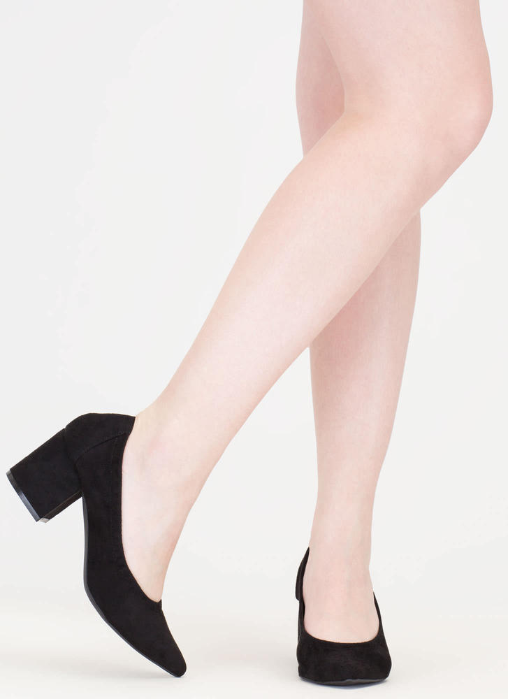 Block Magic Pointy Faux Suede Heels BLACK