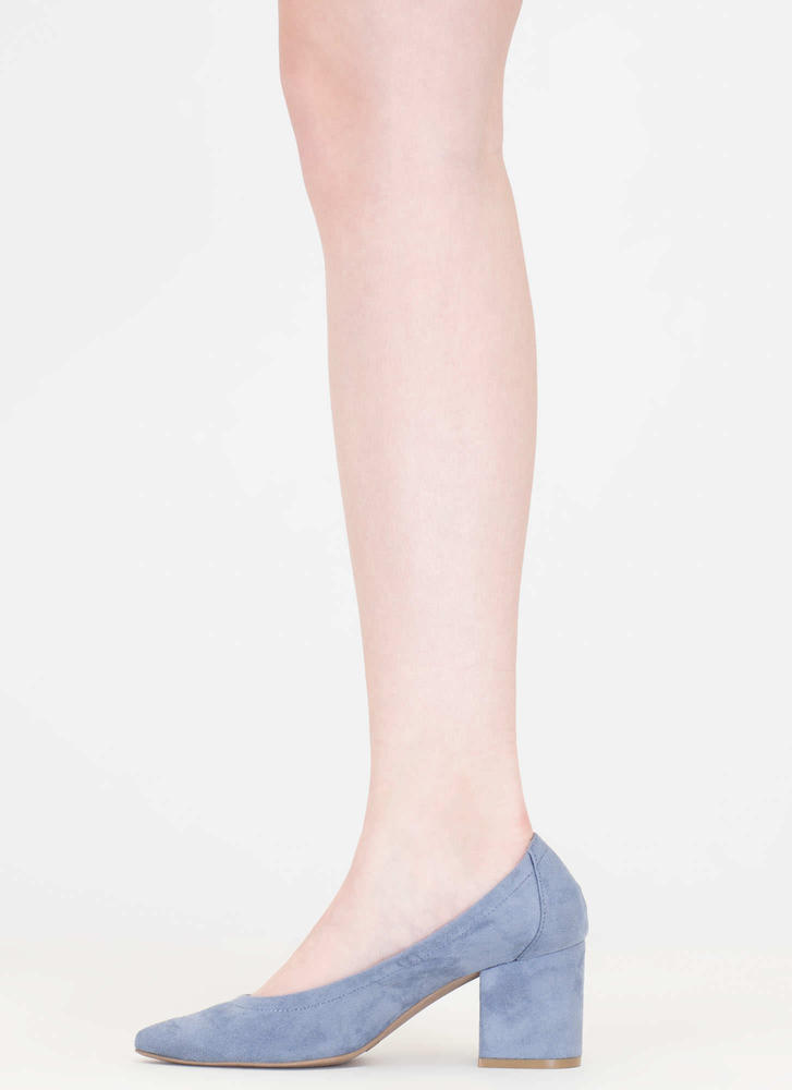 Block Magic Pointy Faux Suede Heels BLUE