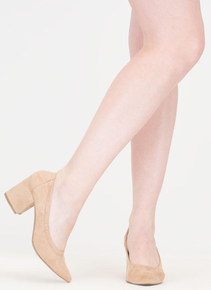 Block Magic Pointy Faux Suede Heels NATURAL