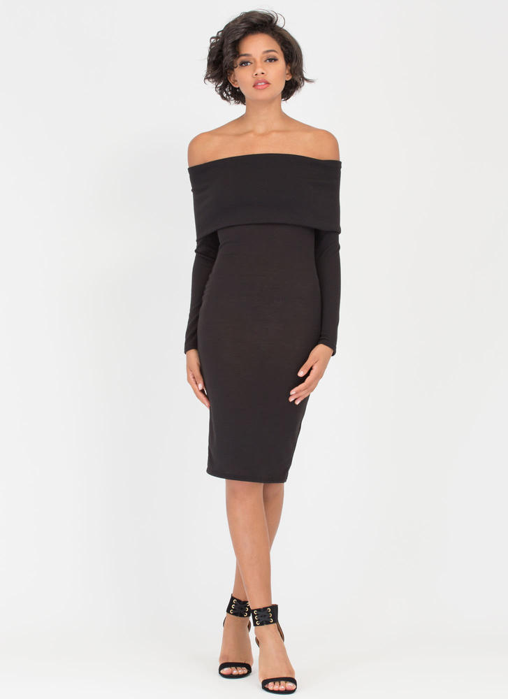 Out With The Fold Off-Shoulder Dress