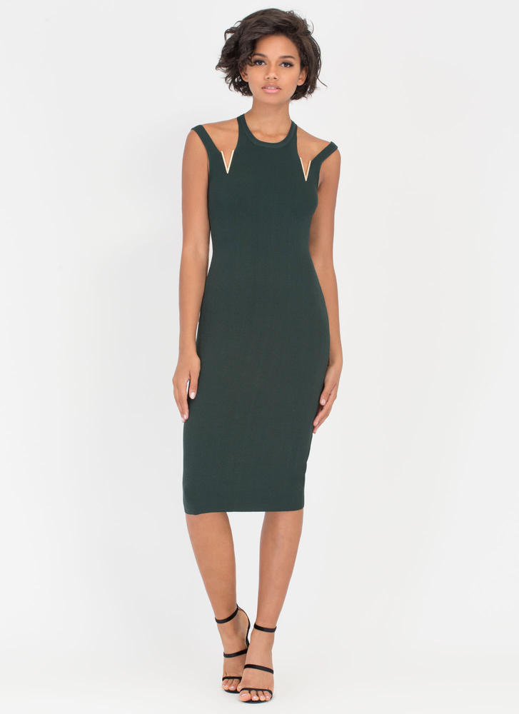 V Is For Victory Cut-Out Charm Dress HUNTERGREEN