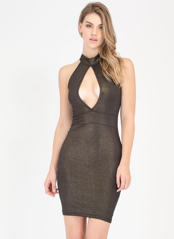 So Divine Metallic Cut-Out Choker Dress