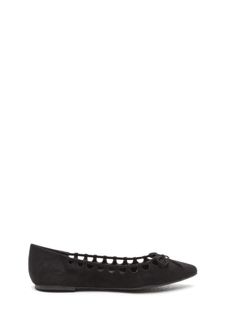 Rock The Bow Faux Suede Pointy Flats BLACK