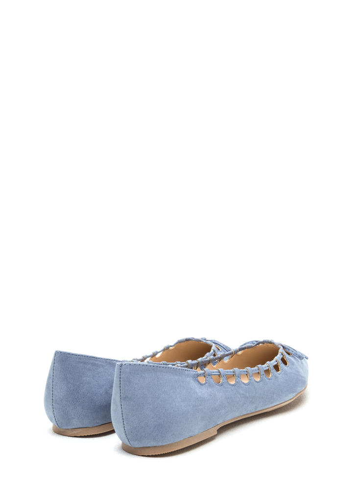Rock The Bow Faux Suede Pointy Flats BLUE