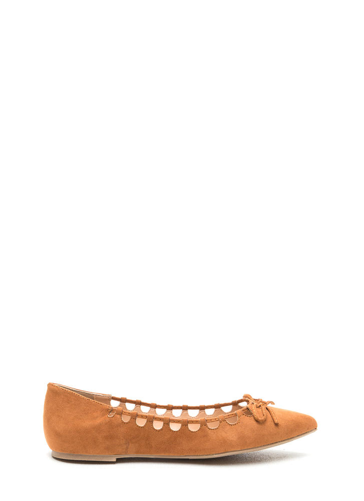 Rock The Bow Faux Suede Pointy Flats WHISKEY (Final Sale)