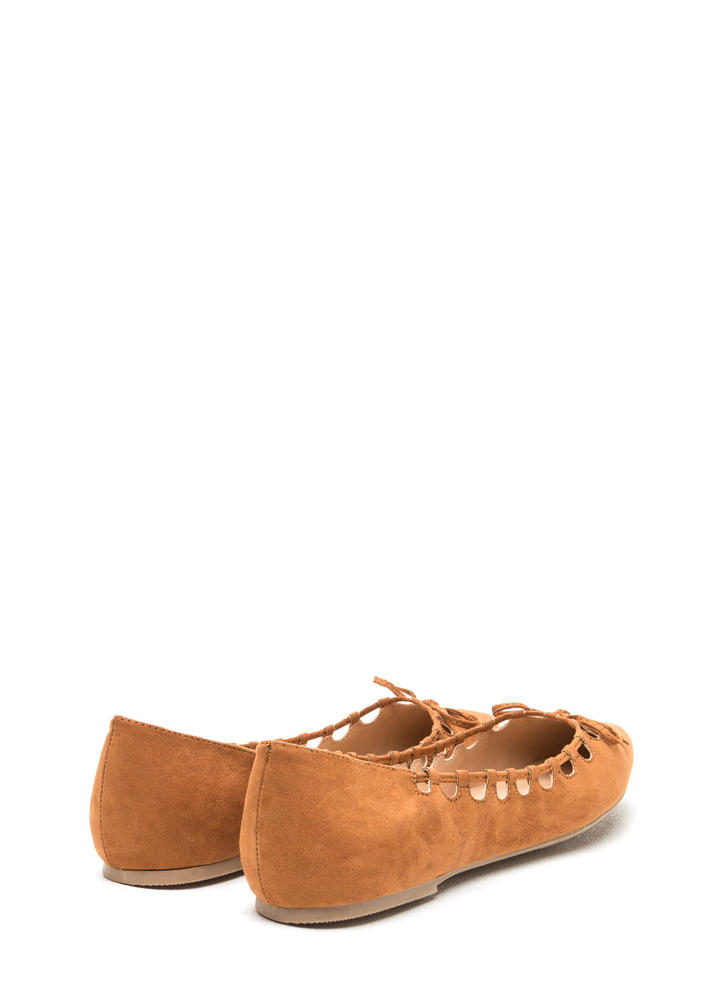 Rock The Bow Faux Suede Pointy Flats WHISKEY