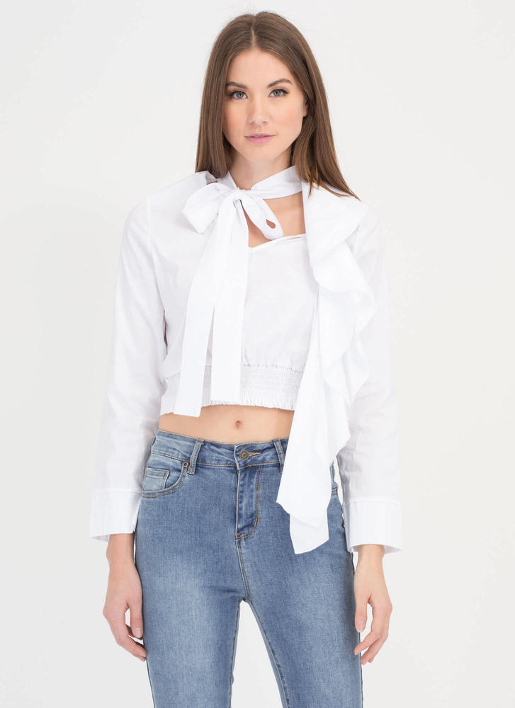 Cascade Ruffle Pussy Bow Blouse