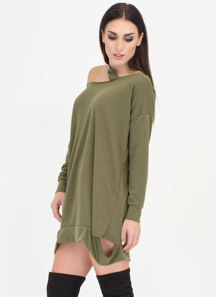 Cut From The Same Cloth Sweatshirt Dress OLIVE