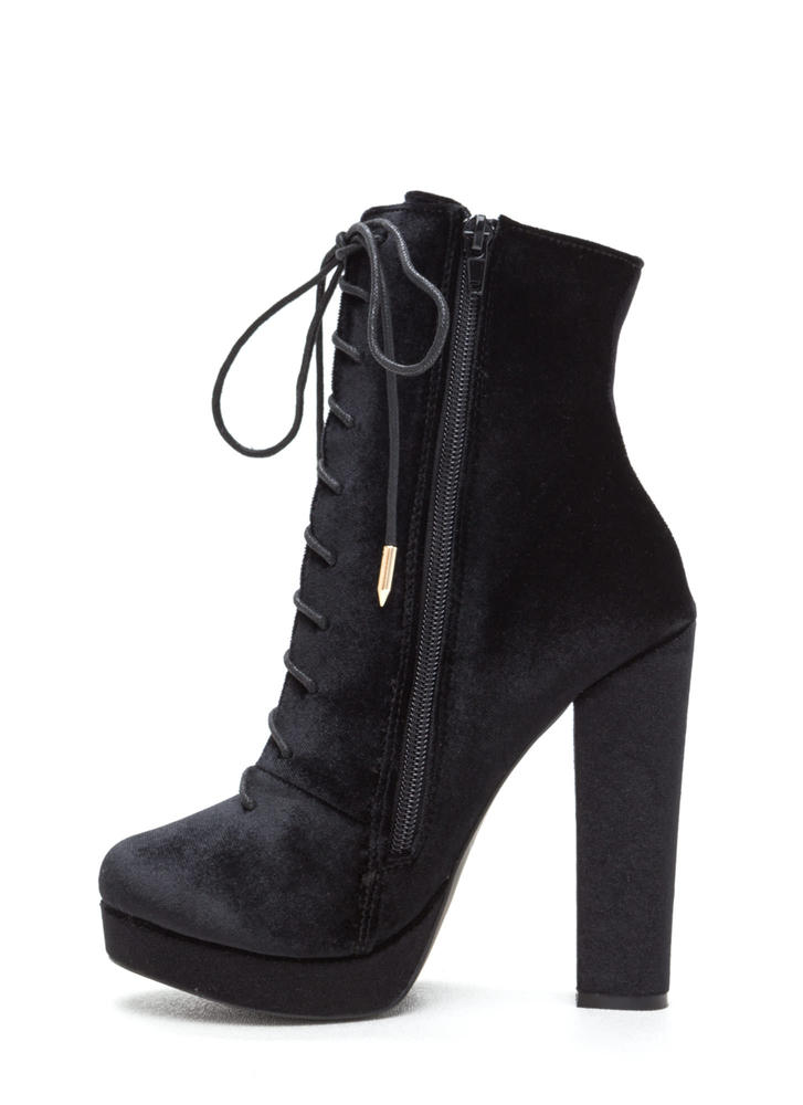 Spellbound Velvet Lace-Up Chunky Booties BLACK