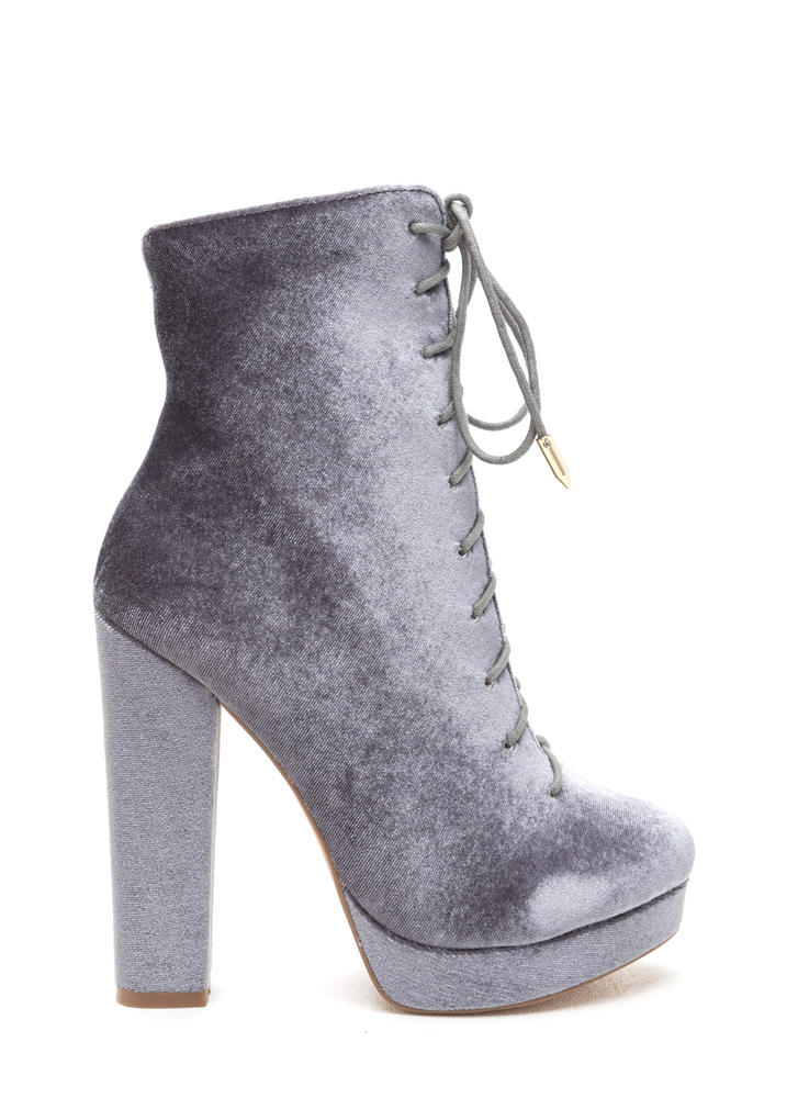 Spellbound Velvet Lace-Up Chunky Booties GREY