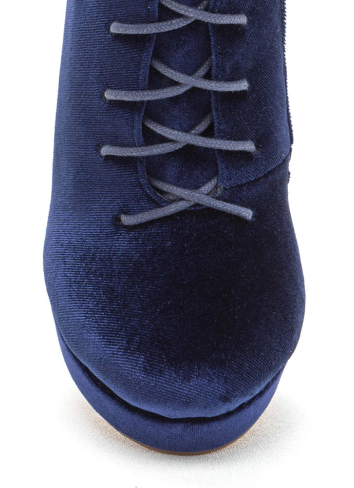 Spellbound Velvet Lace-Up Chunky Booties NAVY