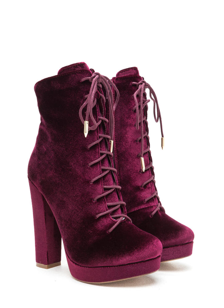 Spellbound Velvet Lace-Up Chunky Booties WINE