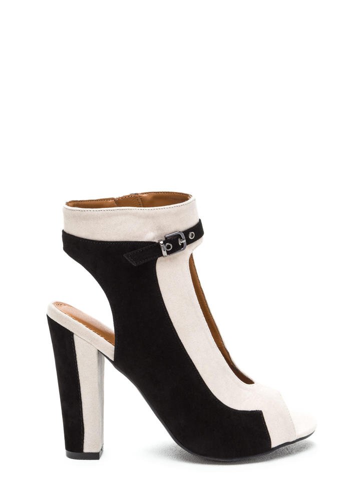 Stylish Duet Cut-Out Chunky Heels