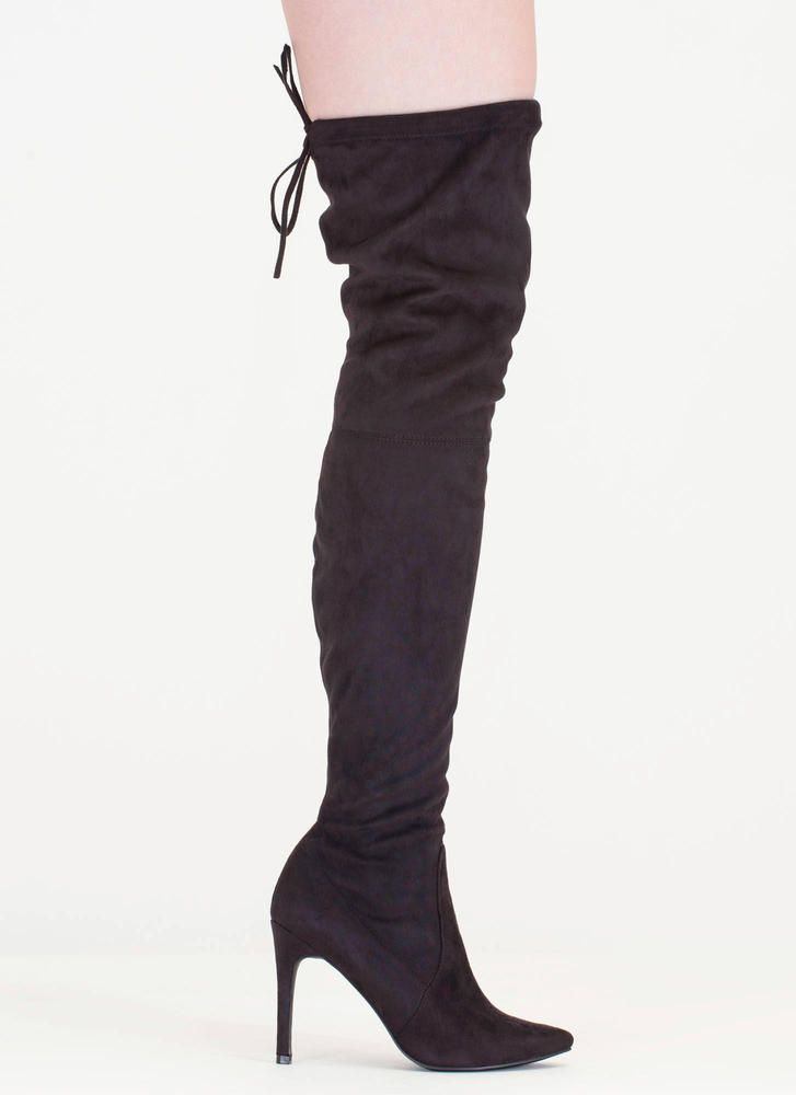 Tie 'N Mighty Pointy Thigh-High Boots BLACK