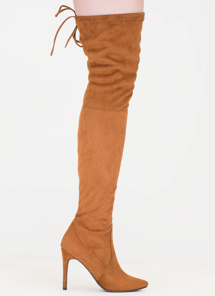 Tie 'N Mighty Pointy Thigh-High Boots TAN