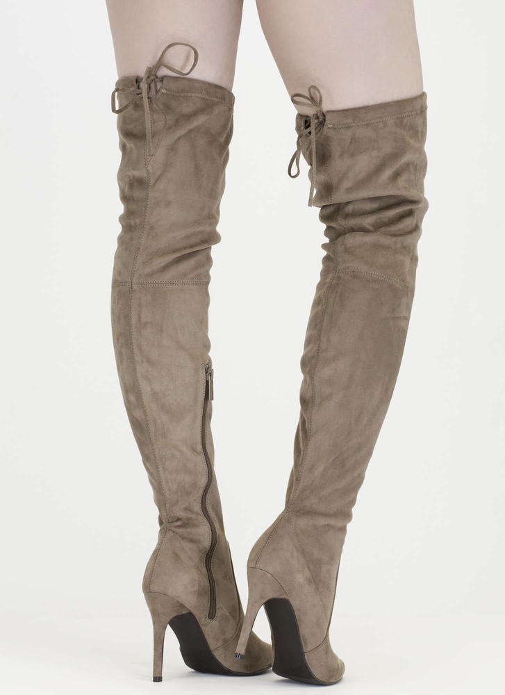 Tie 'N Mighty Pointy Thigh-High Boots TAUPE