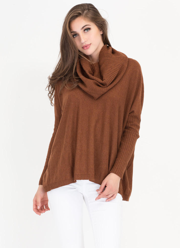 Toasty Warm Knit Turtleneck Sweater BROWN