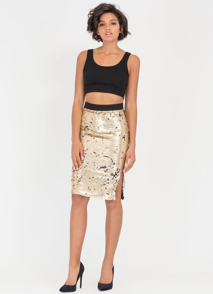 Party Downstairs Matte Sequined Skirt GOLDBLACK (Final Sale)
