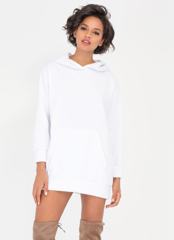 Homebody Hooded Sweatshirt Dress WHITE