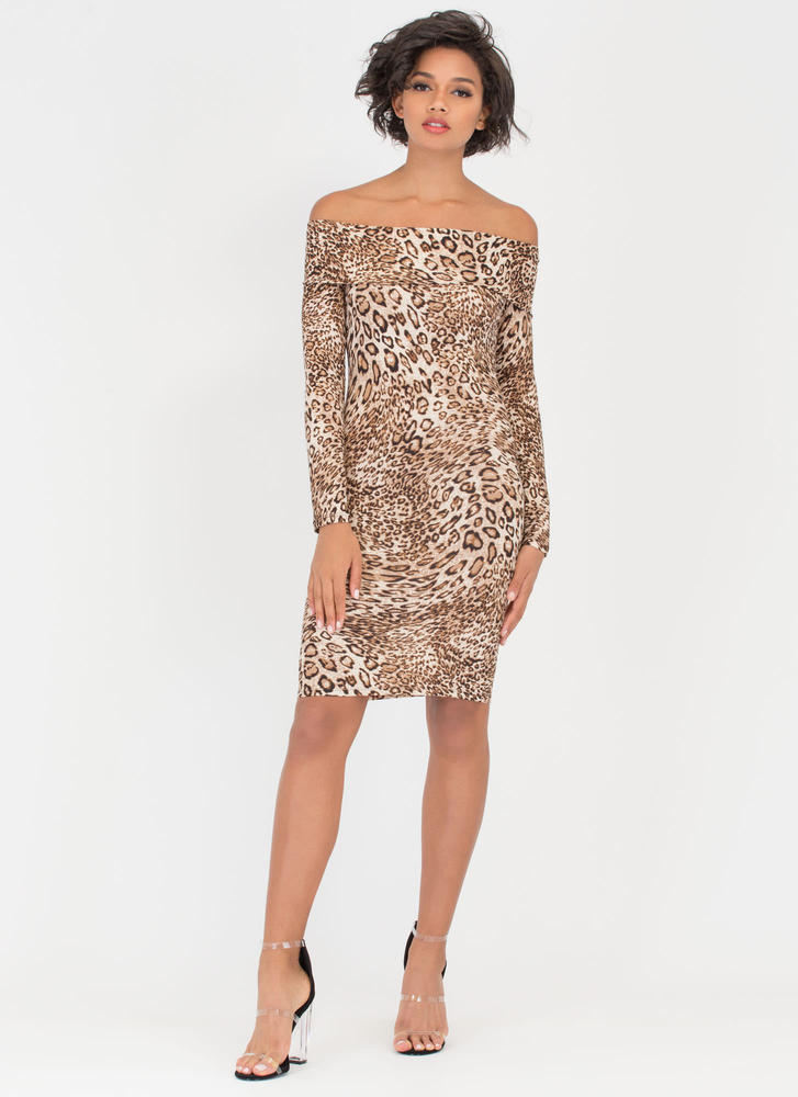 Purr-Fection Off-Shoulder Leopard Dress