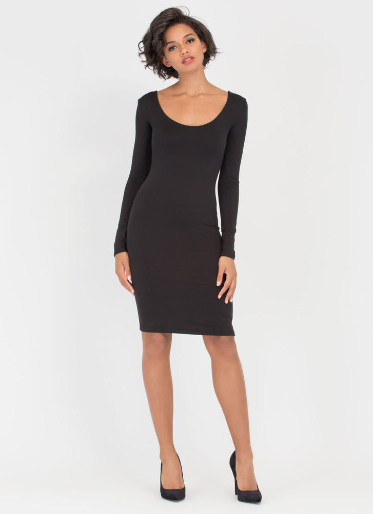 Give You The Scoop Low-Cut Midi Dress BLACK