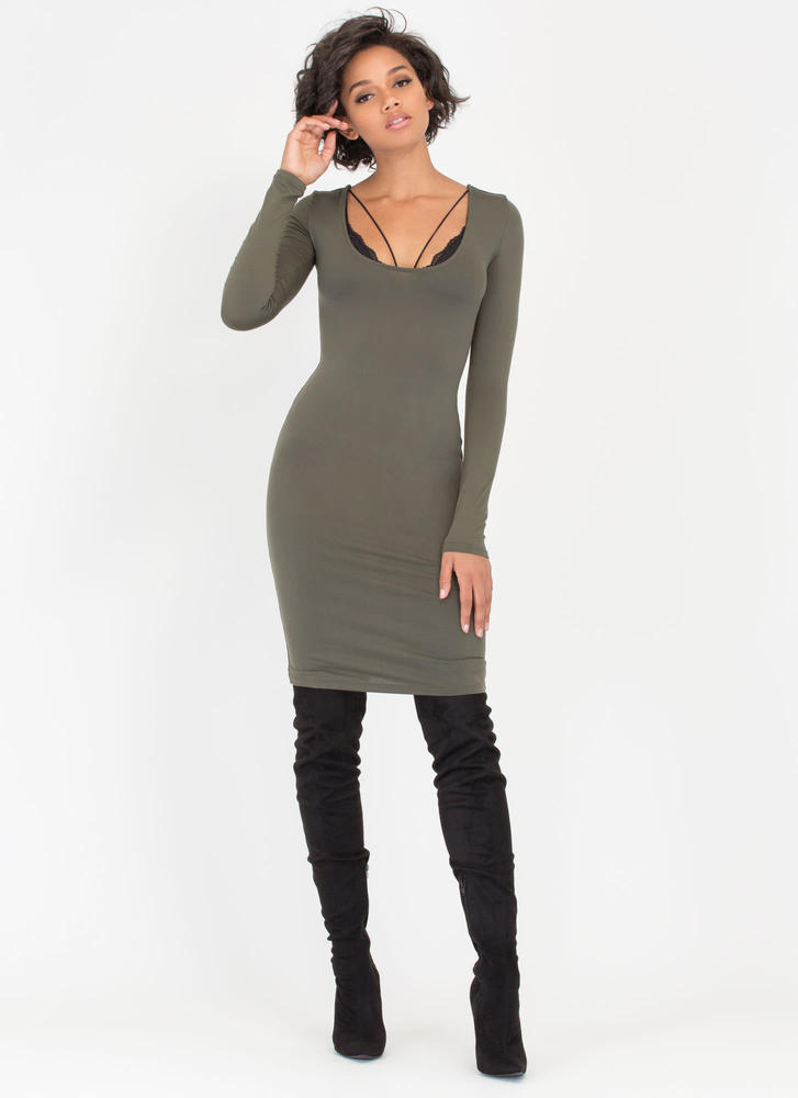 Give You The Scoop Low-Cut Midi Dress OLIVE