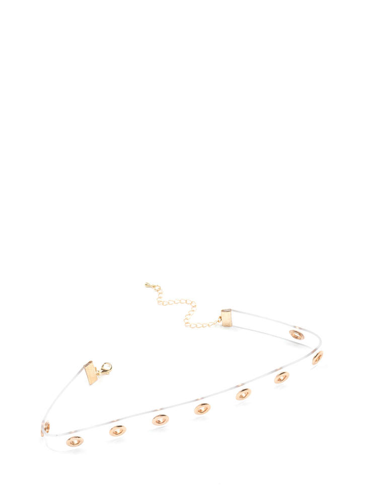 In The Clear Slim Grommet Choker GOLD