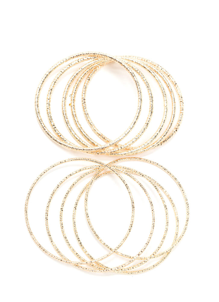 Gleam Of The Crop Bangle Set GOLD