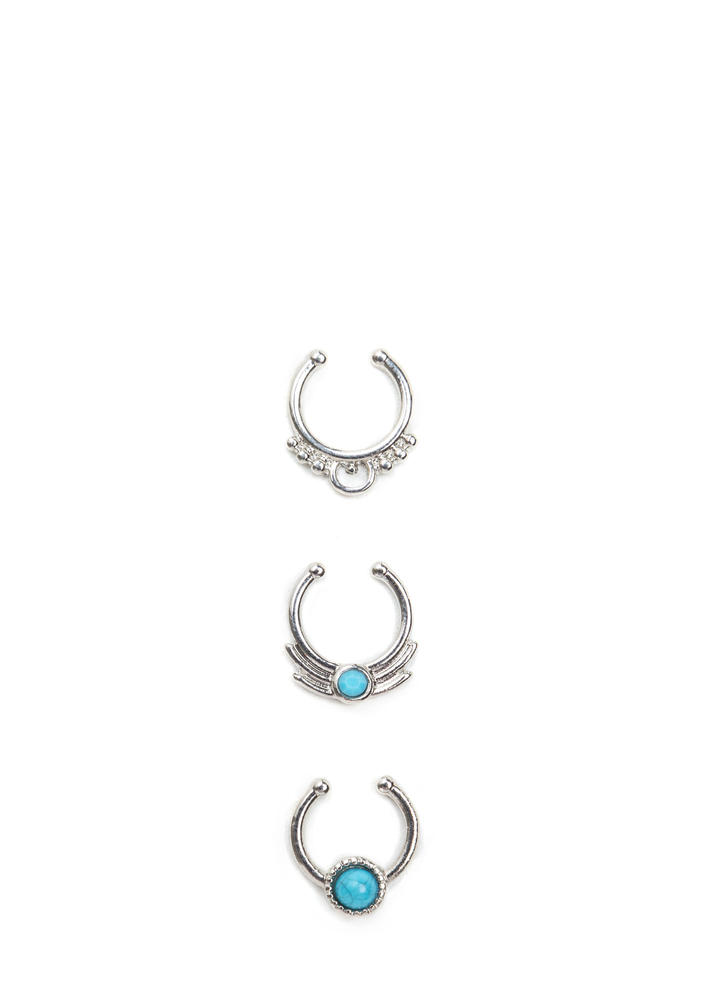 Stone Age Ornate Septum Cuff Set SILVER