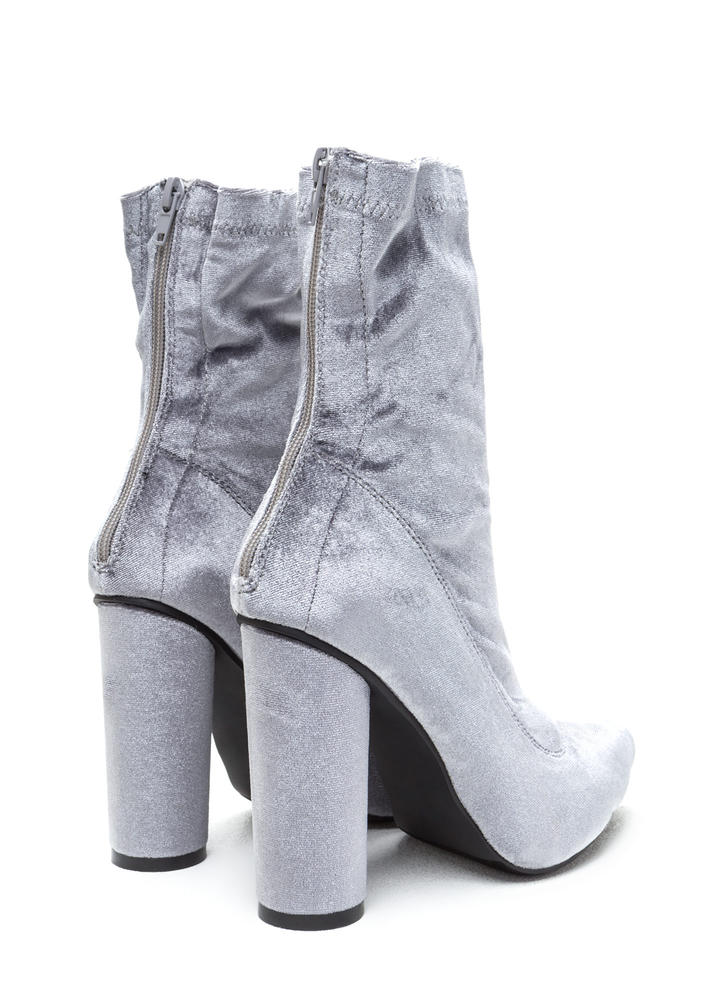 Point This Way Chunky Velvet Booties GREY