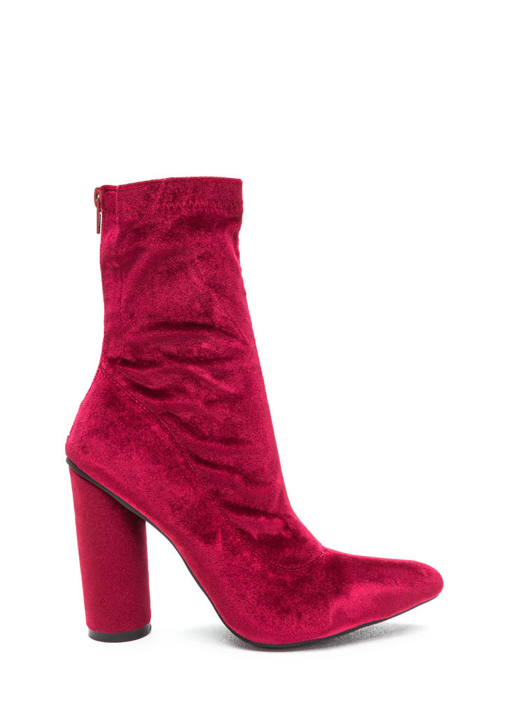 Point This Way Chunky Velvet Booties